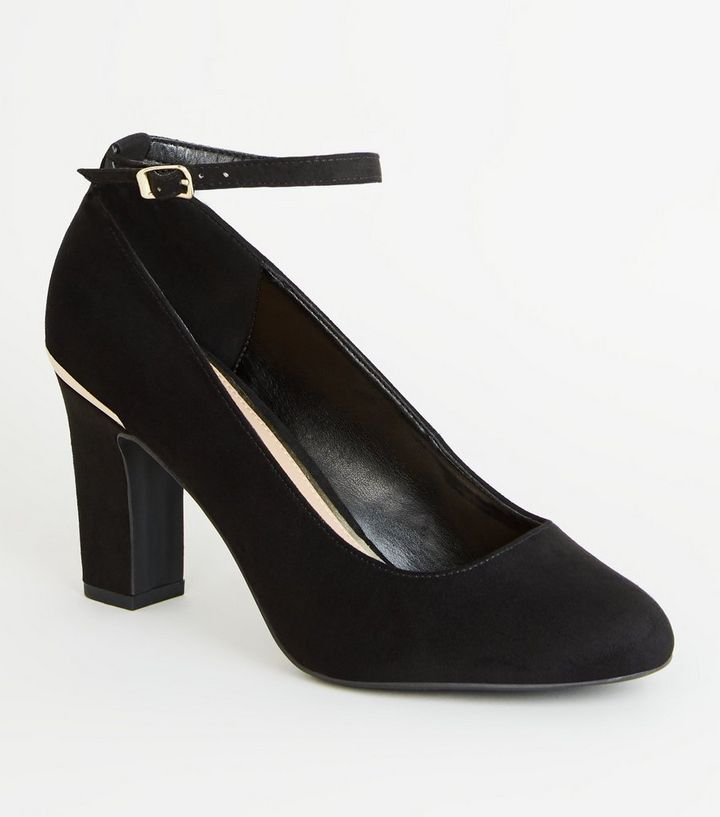 325682cbcff Black Suedette Ankle Strap Block Heel Courts Add to Saved Items Remove from  Saved Items