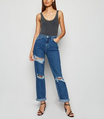 Tall – Blaue, zerrissene Mom Jeans