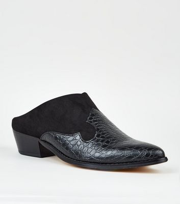 Black Faux Croc and Suedette Slip On Mules