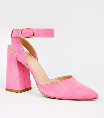 Bright Pink Suedette Flare Heel Court Shoes
