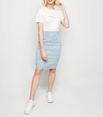 Blue Acid Wash Stretch Denim Pencil Skirt