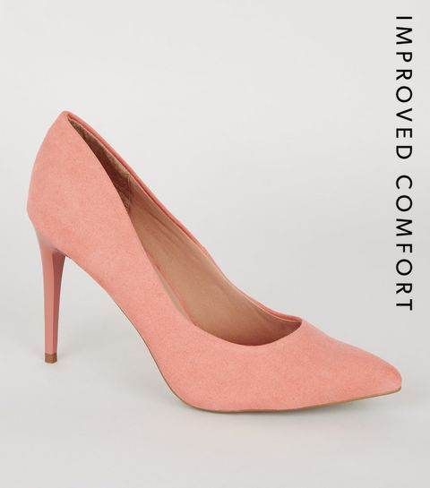 b757e869dd1 ... Coral Suedette Pointed Court Shoes ...