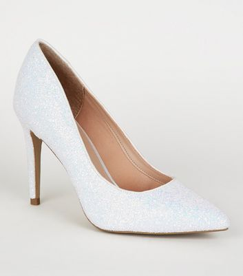 Off White Iridescent Glitter Court Shoes