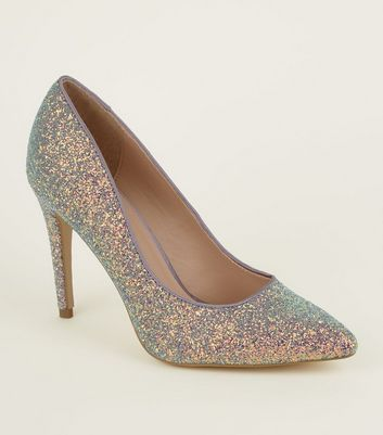 Lilac Glitter Pointed Court Shoes