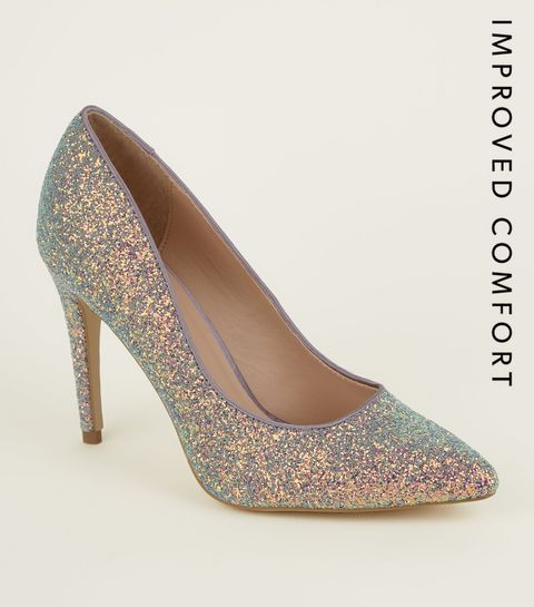 7560fdb8b5352 ... Lilac Glitter Pointed Court Shoes ...