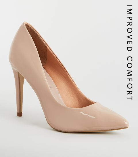 d08e8f8ad0d ... Nude Patent Stiletto Heel Pointed Courts ...