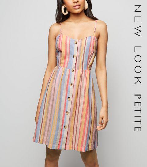 e255215219 ... Petite Pastel Stripe Button Front Mini Dress ...