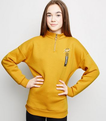 Girls Mustard Chicago Slogan Longline Sweatshirt