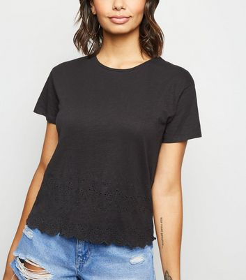Black Broderie Scallop Hem T-Shirt