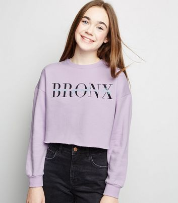 Girls Lilac Bronx New York City Slogan Sweatshirt