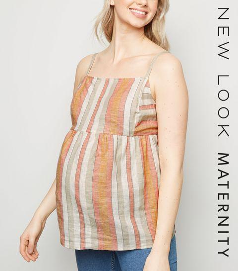 00dafc43560 ... Maternity White Stripe Linen Blend Cami ...