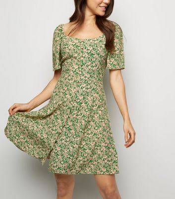 Tall Green Ditsy Floral Square Neck Dress