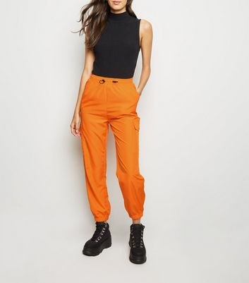 Bright Orange Utility Pocket Cuffed Shell Joggers