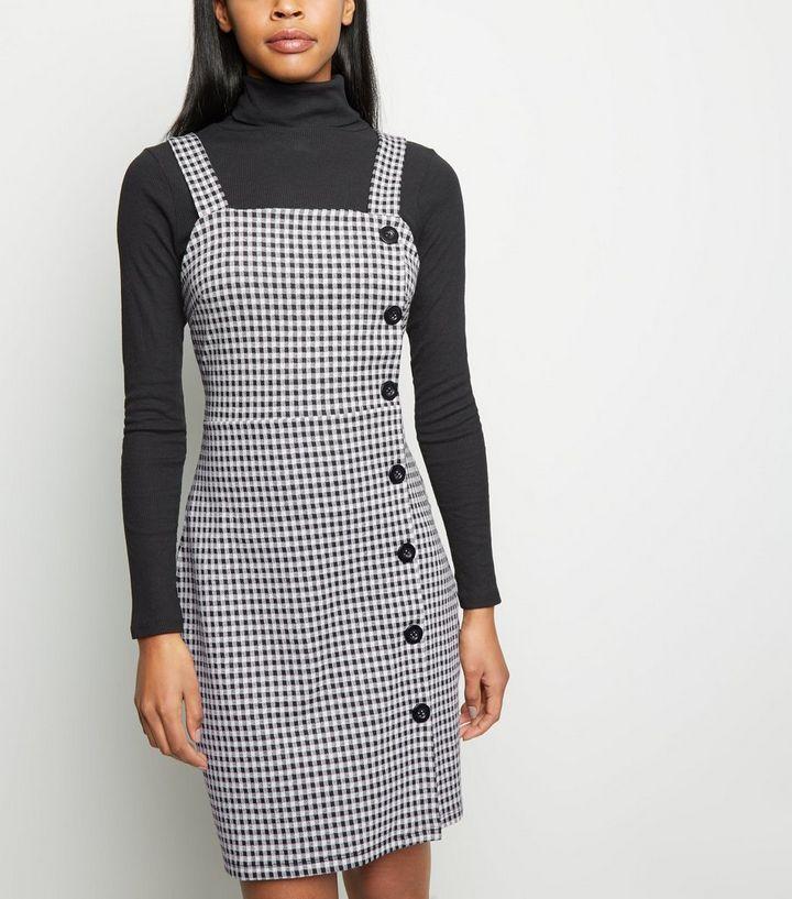 e02d131de4 Tall Black Gingham Button Side Pinafore Dress