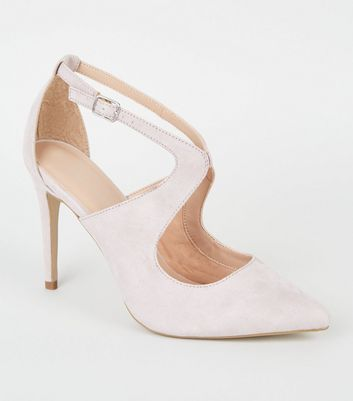 Lilac Suedette Cut Out Heel Court Shoes