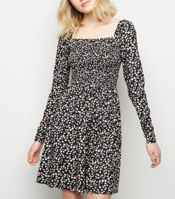 Tall Black Floral Print Soft Touch Dress