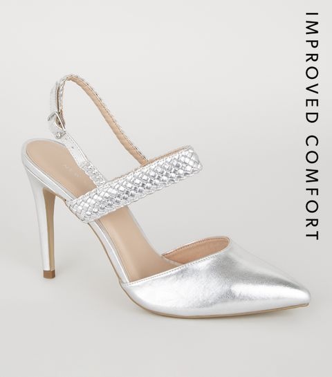 18293d83e3611 ... Silver Woven Strap 2 Part Court Shoes ...