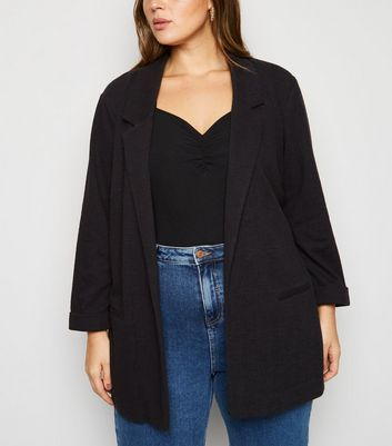 Curves Black 3/4 Sleeve Blazer