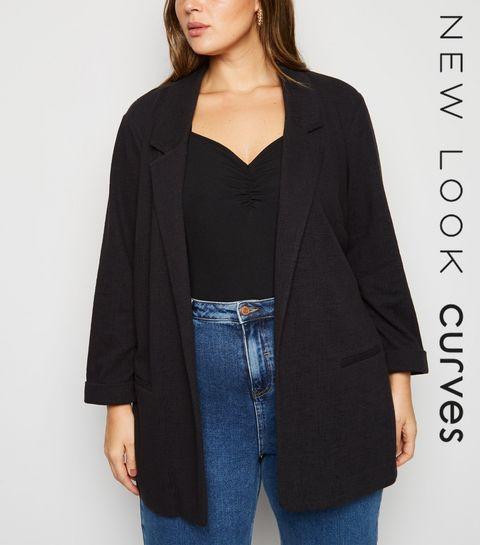 698c9a7914d ... Curves Black 3 4 Sleeve Blazer ...
