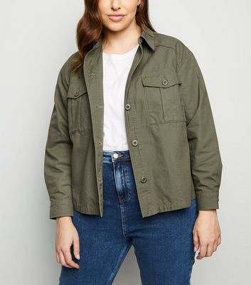 Curves Khaki Cropped Utility Shacket