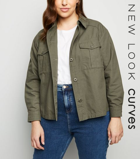 99dfdfb5ff1 ... Curves Khaki Cropped Utility Shacket ...