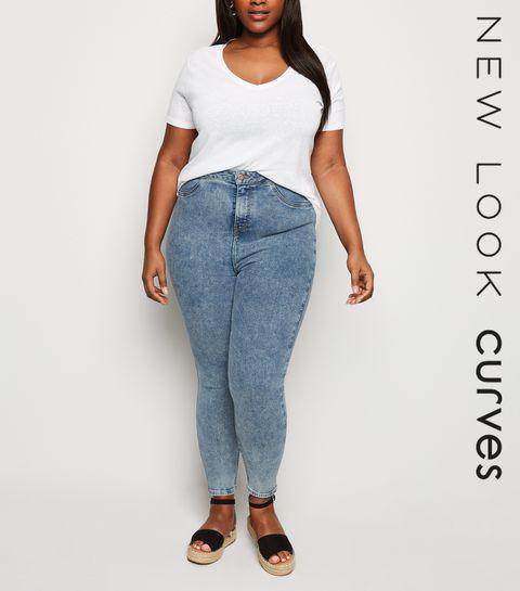 4f16173432c ... Curves - Jean super skinny bleu pâle délavé à l acide ...