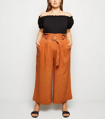 Curves Orange Linen Look Buckle Crop Trousers