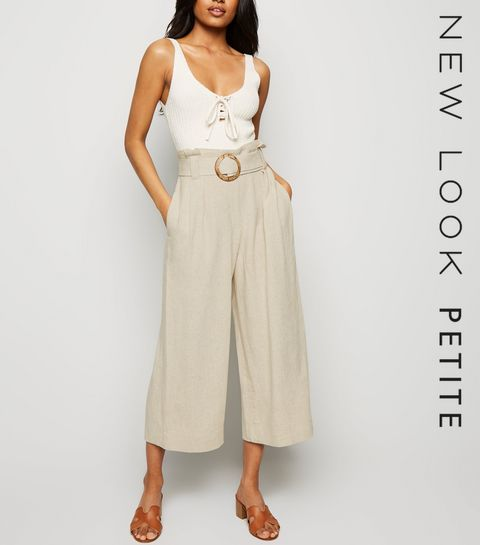 0094c4f60a11 ... Petite Stone Linen Look Crop Trousers ...