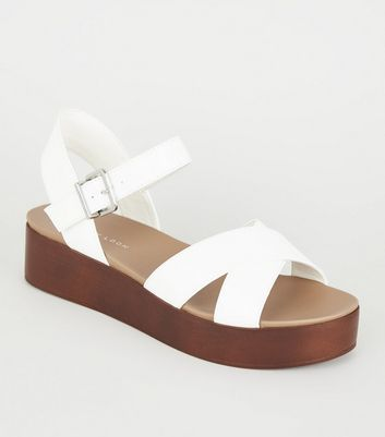 White Leather-Look Wood Flatform Sandals