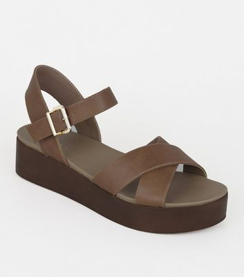 Tan Leather-Look Wood Flatform Sandals