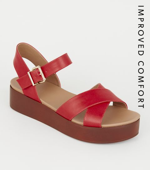 d1881109d6a ... Red Leather-Look Wood Flatform Footbed Sandals ...