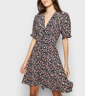 Black Floral Puff Sleeve Tea Dress