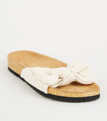 Off White Bow Strap Footbed Sliders