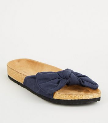 Navy Bow Strap Footbed Sliders