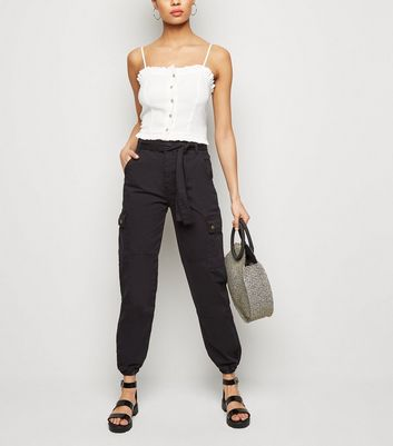 Black Tie Waist Denim Utility Trousers