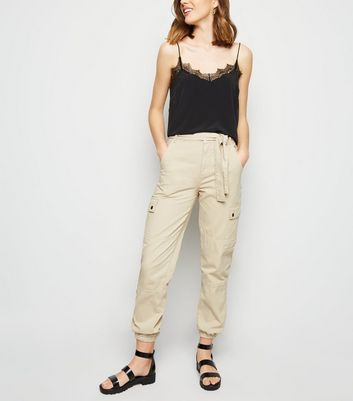Stone Tie Waist Denim Utility Trousers