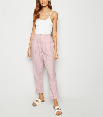Pink Linen Blend Tapered Trousers