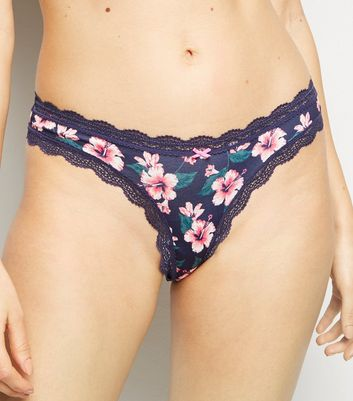 Navy Floral Lace Trim Thong