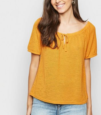 Mustard Fine Knit Tie Front Off Shoulder Top