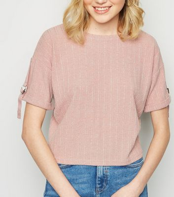 Pale Pink Fine Knit Buckle Sleeve Top
