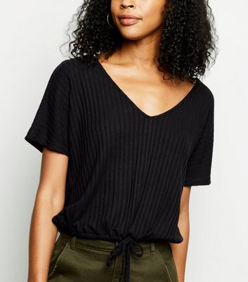 Black Drawstring Hem Fine Knit T-Shirt