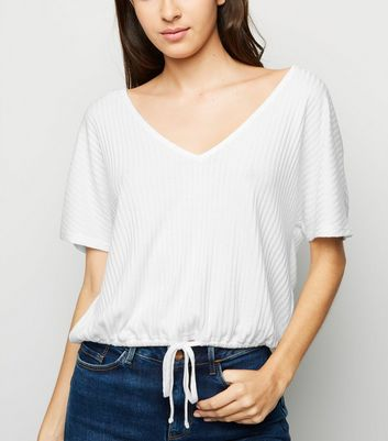 White Drawstring Hem Fine Knit T-Shirt