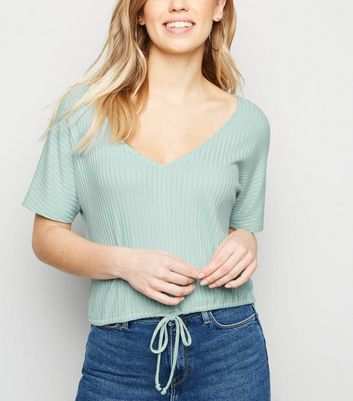 Light Green Drawstring Hem Fine Knit T-Shirt