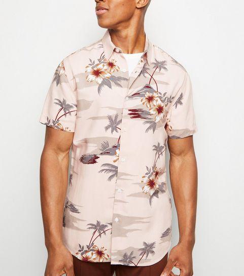 bd306d3efb9 ... Pink Tropical Print Short Sleeve Shirt ...