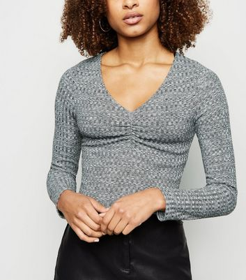 Grey Marl Ruched Square Neck Crop Top