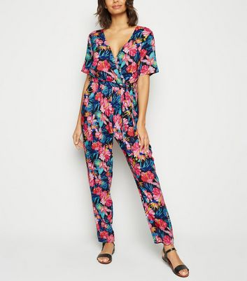 Mela Black Tropical Floral Short Sleeve Jumpsuit