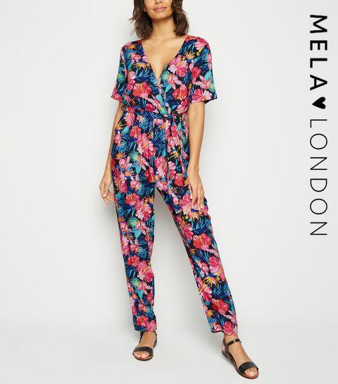 07dd0ff68639 ... Mela Black Tropical Floral Short Sleeve Jumpsuit ...