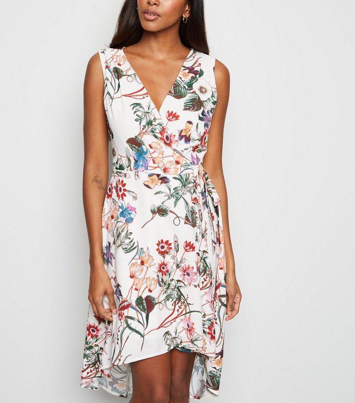 f42a38e07b Mela White Floral Wrap Dress