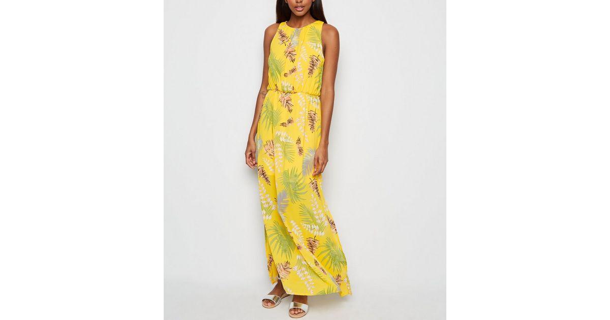 Mela Robe Longue Jaune A Imprime Tropical New Look