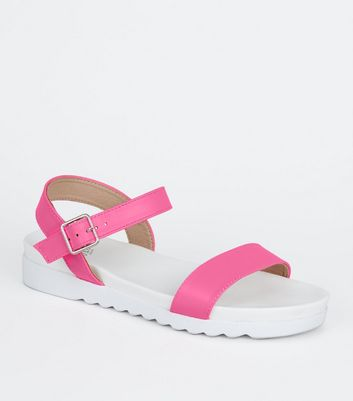 Girls Pink Neon Leather-Look Sport Sandals